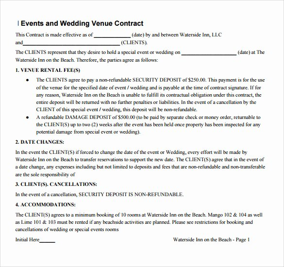 Wedding Venue Contract Template New Sample Vendor Contract Template 13 Free Samples