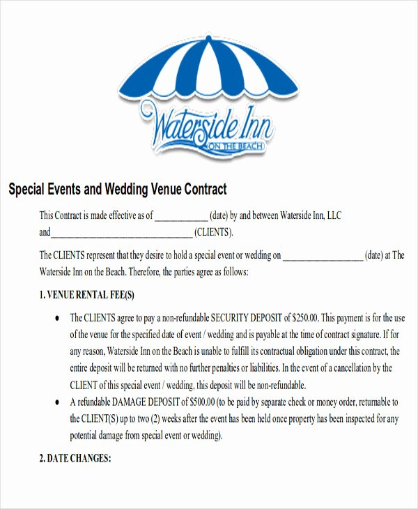 Wedding Venue Contract Template New Sample Wedding Contract Agreements 9 Examples In Word Pdf