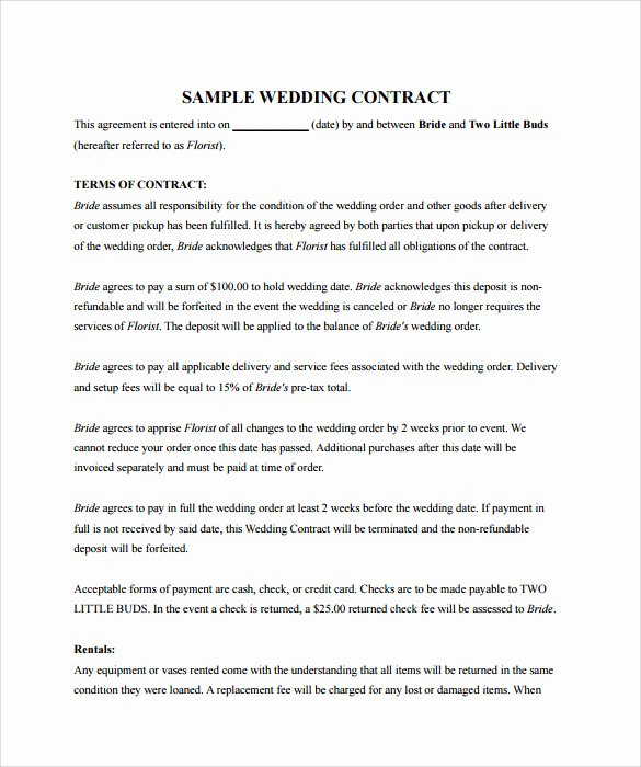 Wedding Video Contract Template Awesome Sample Wedding Contract 25 Documents In Pdf Word