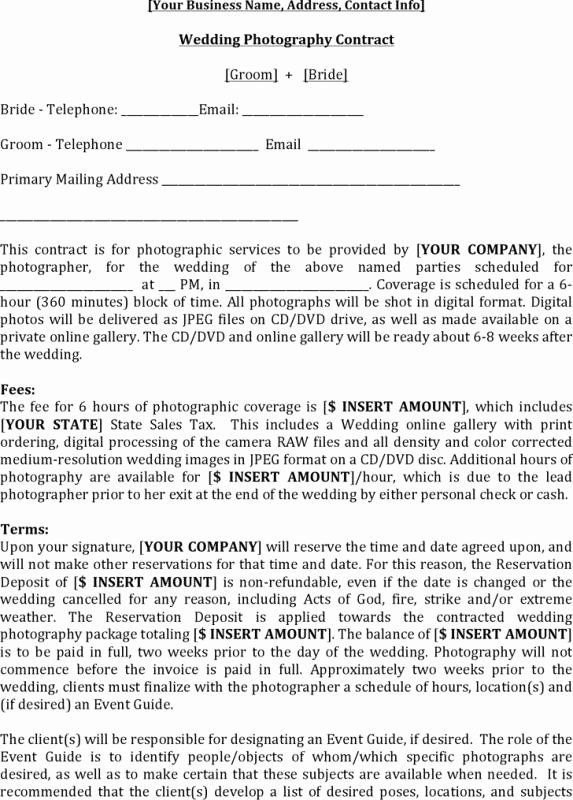 Wedding Video Contract Template Best Of Wedding Graphy Contract Template
