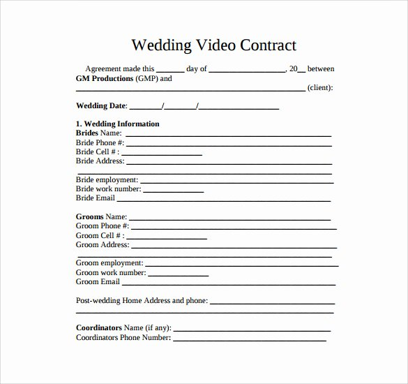 Wedding Video Contract Template Elegant Videography Contract Template 9 Download Free Documents