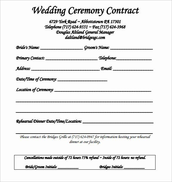 Wedding Video Contract Template Luxury Wedding Contract Template 24 Download Free Documents