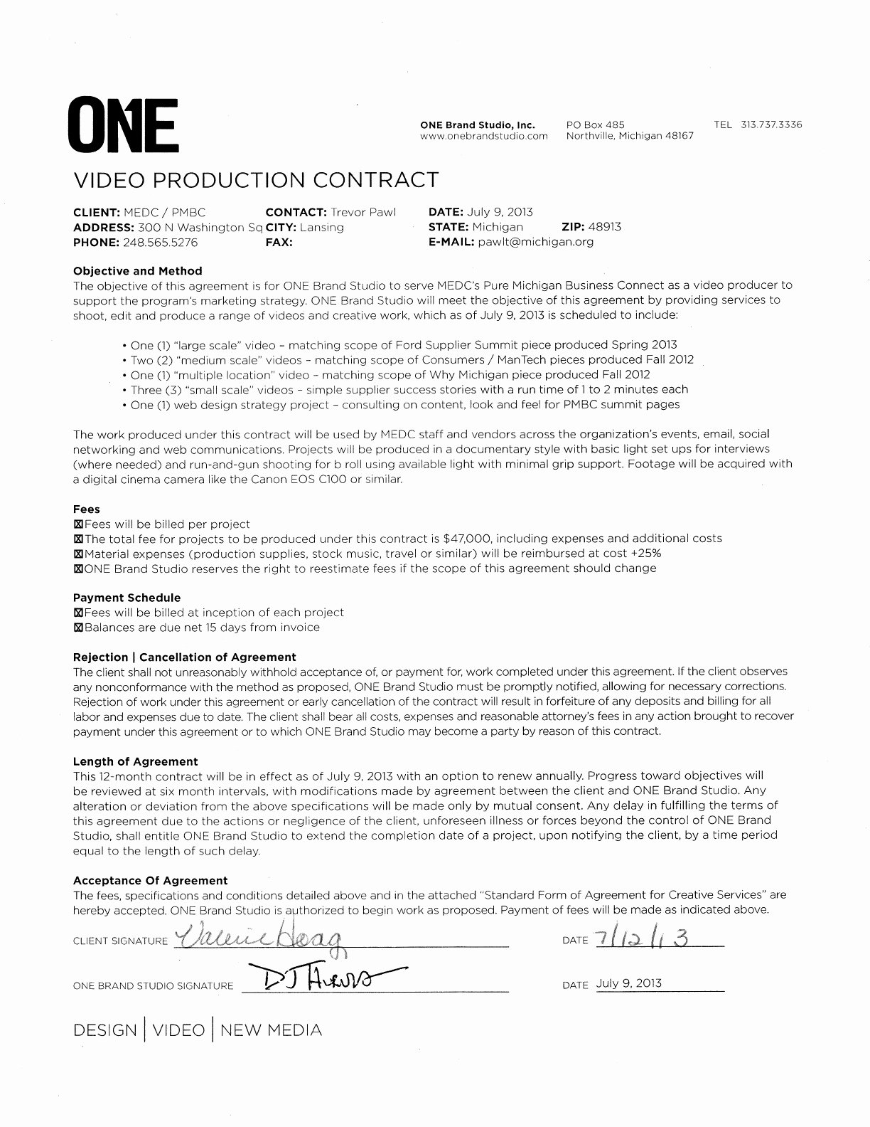 Wedding Videographer Contract Template Beautiful Free Video Production Proposal Sample