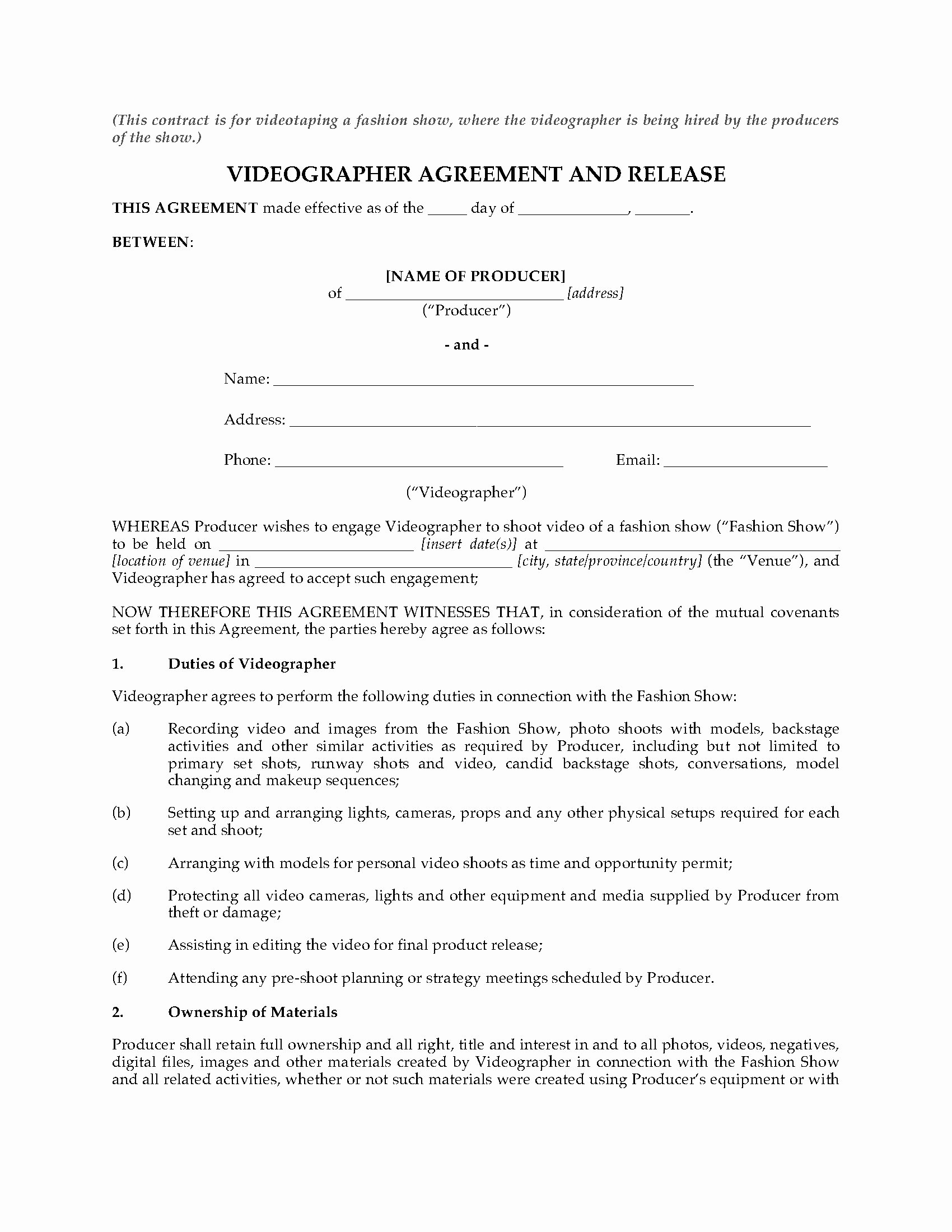 Wedding Videographer Contract Template Fresh Videography Agreement for Fashion Show