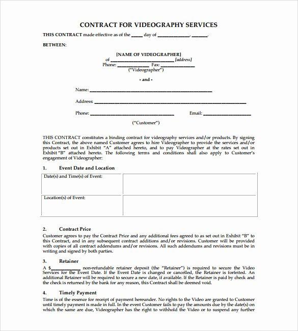 Wedding Videographer Contract Template Fresh Videography Contract Template 9 Download Documents In