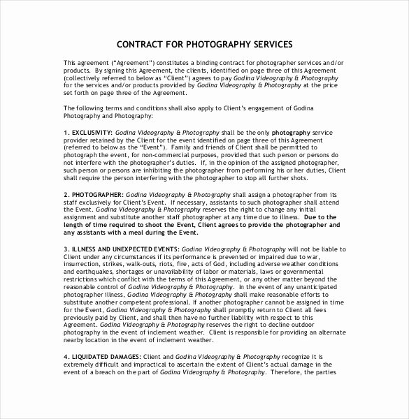 Wedding Videographer Contract Template Inspirational 22 Graphy Contract Templates – Word Pdf Apple