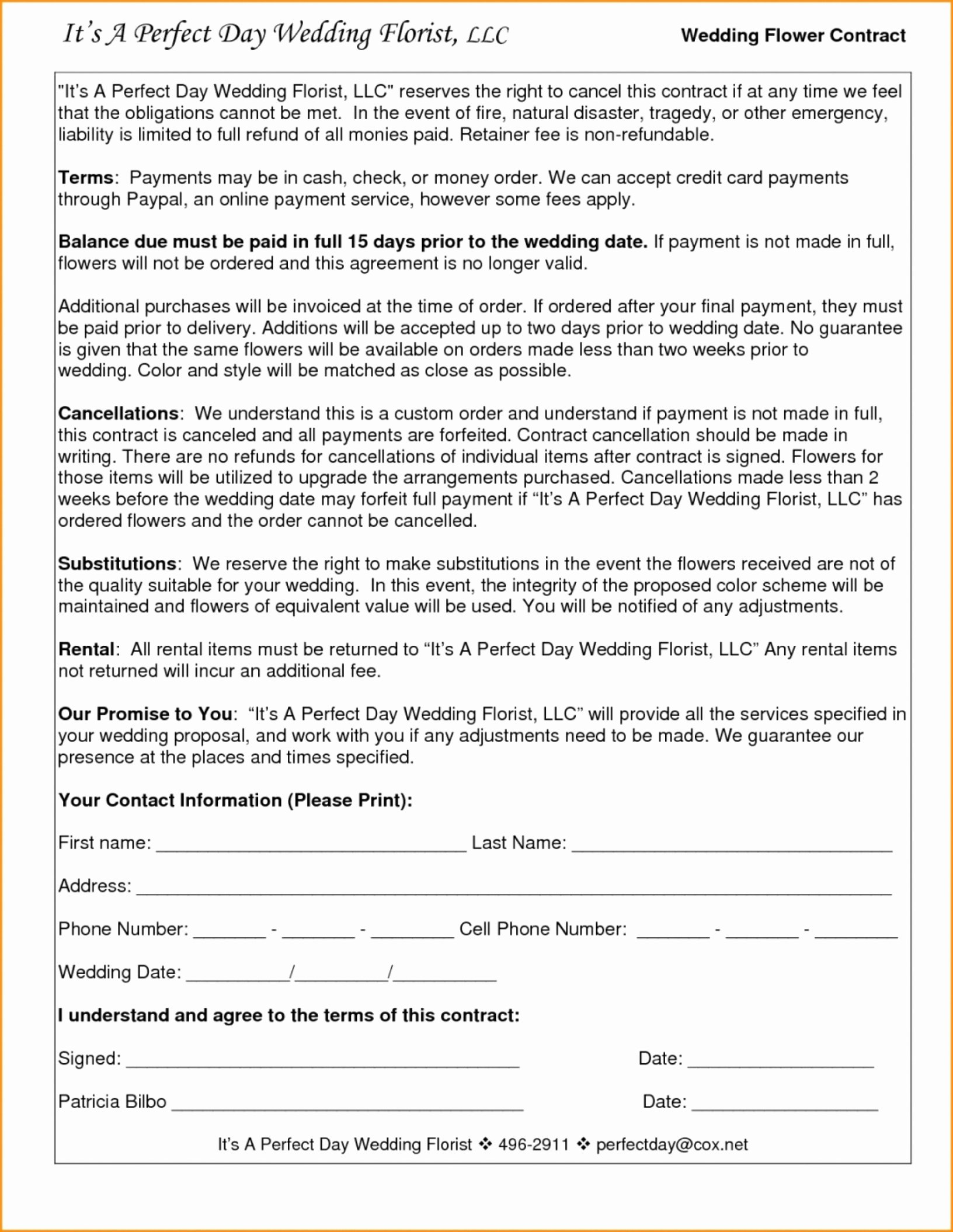 Wedding Videographer Contract Template Lovely 023 Wedding Videography Contract Template Inspirational
