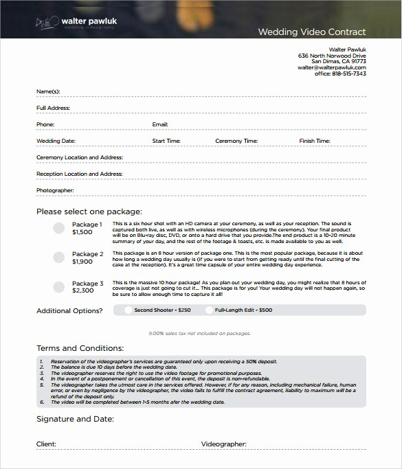 Wedding Videographer Contract Template Lovely Videography Contract Template 10 Download Free