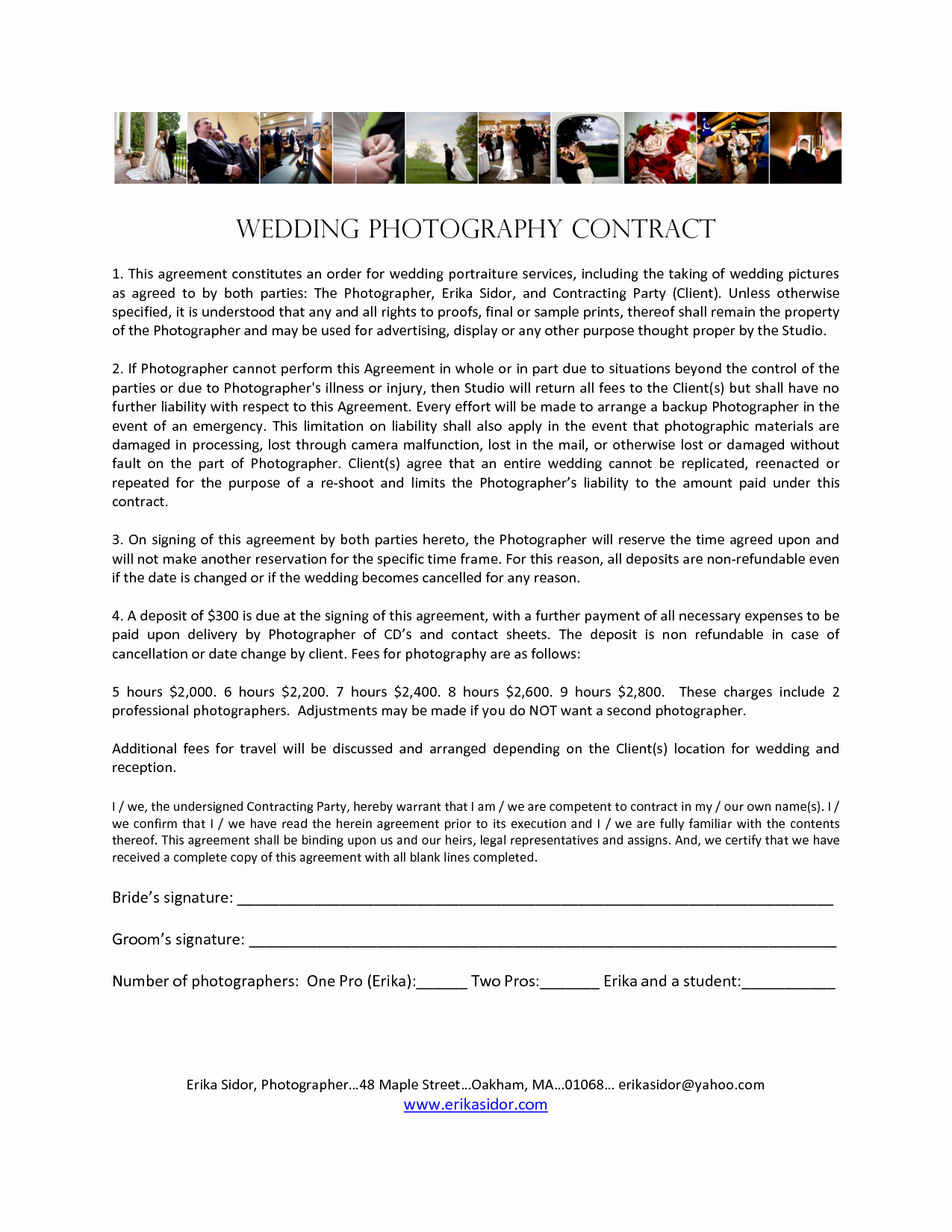 Wedding Videographer Contract Template Lovely Wedding Graphy Contract Agreement Wedding