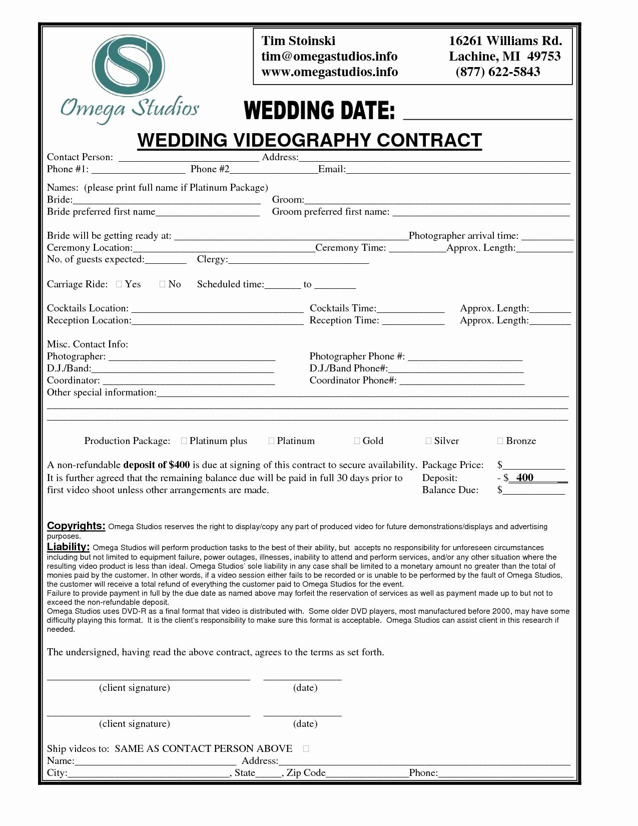 Wedding Videographer Contract Template Luxury Videographer Contract Template Free Printable Documents