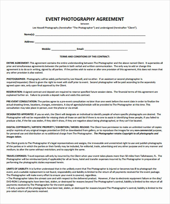 Wedding Videography Contract Template Beautiful 19 event Contract Templates to Download for Free