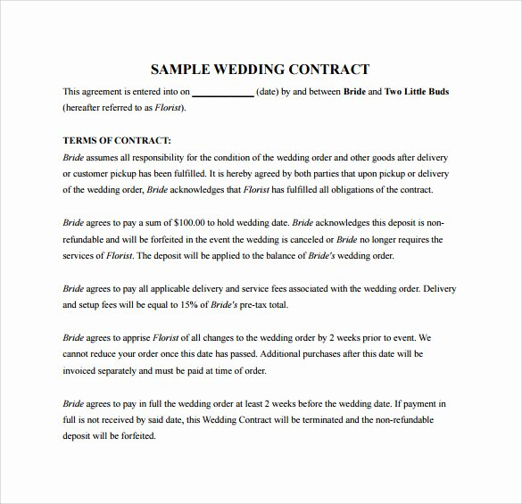 Wedding Videography Contract Template Beautiful 20 Wedding Contract Templates to Download for Free