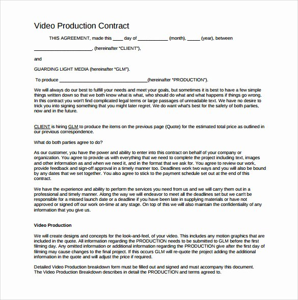 Wedding Videography Contract Template Lovely Videography Contract Template 9 Download Free Documents