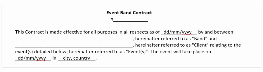 Wedding Videography Contract Template Luxury Wedding Band Contract Template Wedding Dj Contract