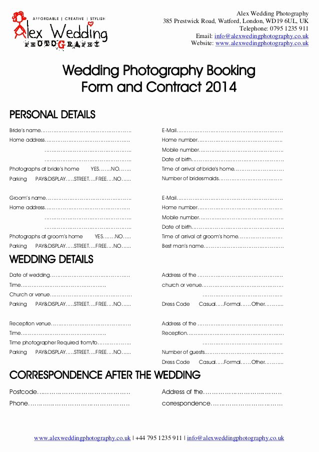 Wedding Videography Contract Template Luxury Wedding Graphy Booking form and Contract 2014