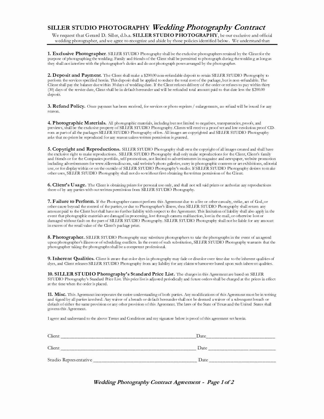 Wedding Videography Contract Template New Wedding Graphy Contract = 4 = Wedding Graphy