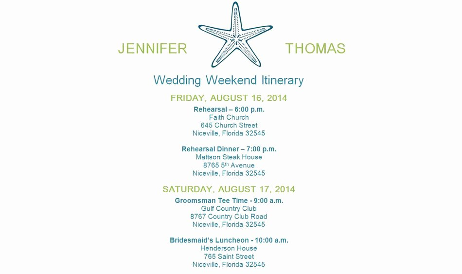 Wedding Weekend Itinerary Template Beautiful Free Wedding Itinerary Templates and Timelines