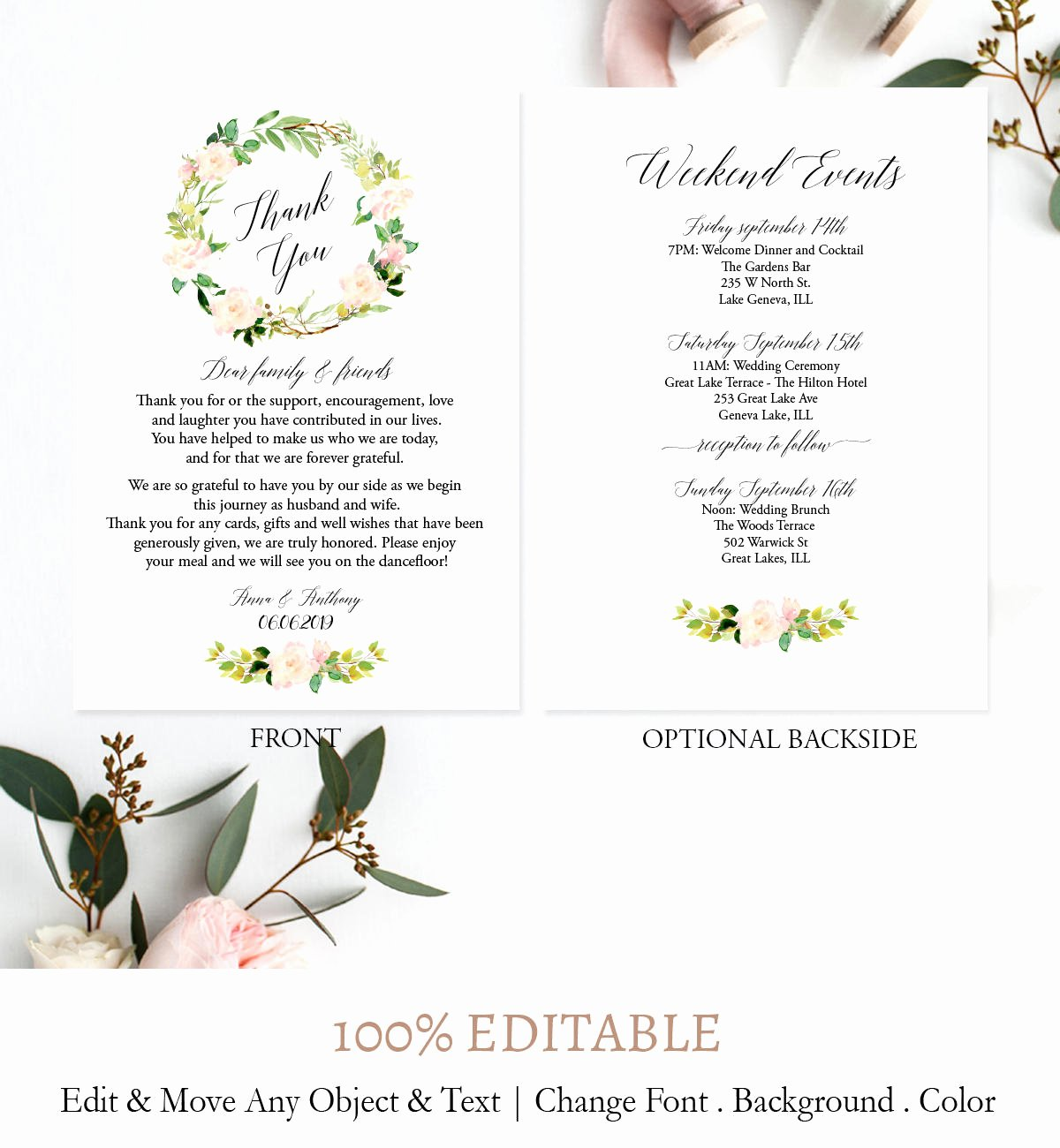 Wedding Weekend Itinerary Template Beautiful Pink Wreath Weekend Itinerary Template Boho Printable