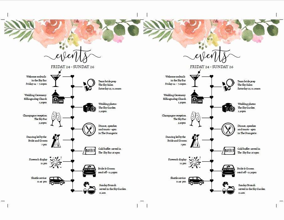 Wedding Weekend Itinerary Template Best Of Diy Wedding Weekend Timeline Template Pink Rose Itinerary