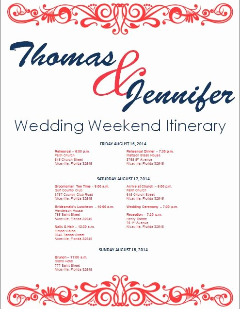 Wedding Weekend Itinerary Template Best Of Wedding Itinerary Wedding Itinerary Template Bridetodo