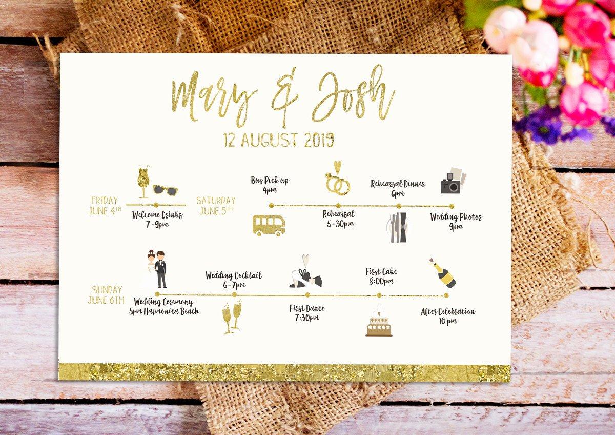 Wedding Weekend Itinerary Template Elegant Gold Wedding Weekend Itinerary Template Printable Gold