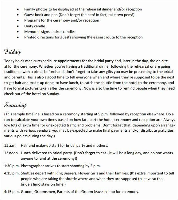 Wedding Weekend Itinerary Template Elegant Sample Wedding Weekend Itinerary Template 12 Documents