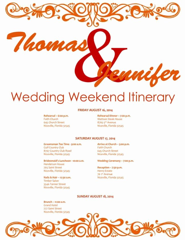 Wedding Weekend Itinerary Template Free Awesome 6 Free Wedding Itinerary Templates for Word and Excel