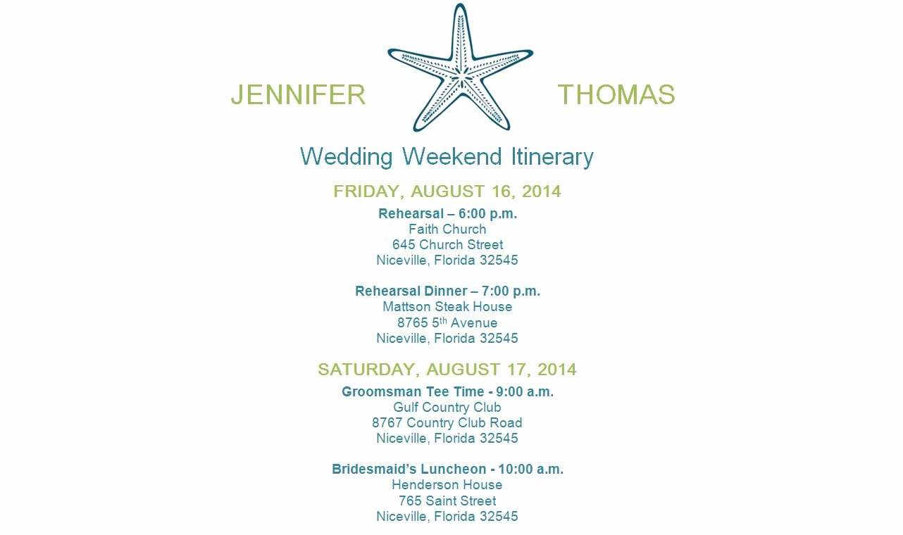 Wedding Weekend Itinerary Template Free Beautiful Free Wedding Itinerary Templates and Timelines