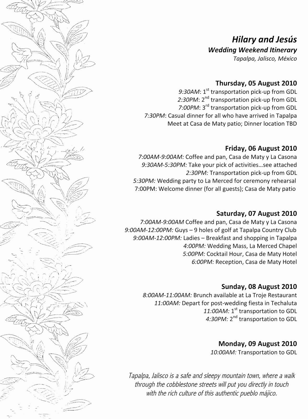 Wedding Weekend Itinerary Template Free Best Of Wedding Weekend Agenda Template Aholicutorrent