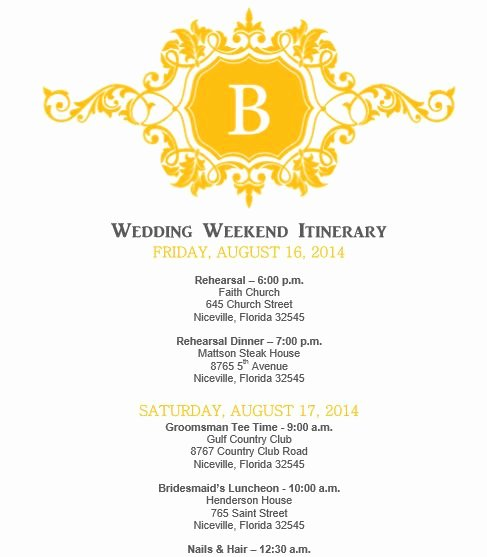 Wedding Weekend Itinerary Template Free Fresh Mustard Yellow Wedding Itinerary Template Download