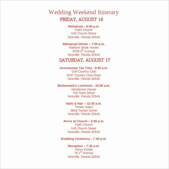 Wedding Weekend Itinerary Template Free Fresh Sample Wedding Weekend Itinerary Template 12 Documents