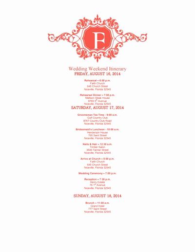 Wedding Weekend Itinerary Template Free Inspirational Wedding Itinerary Template Free Download Edit Create