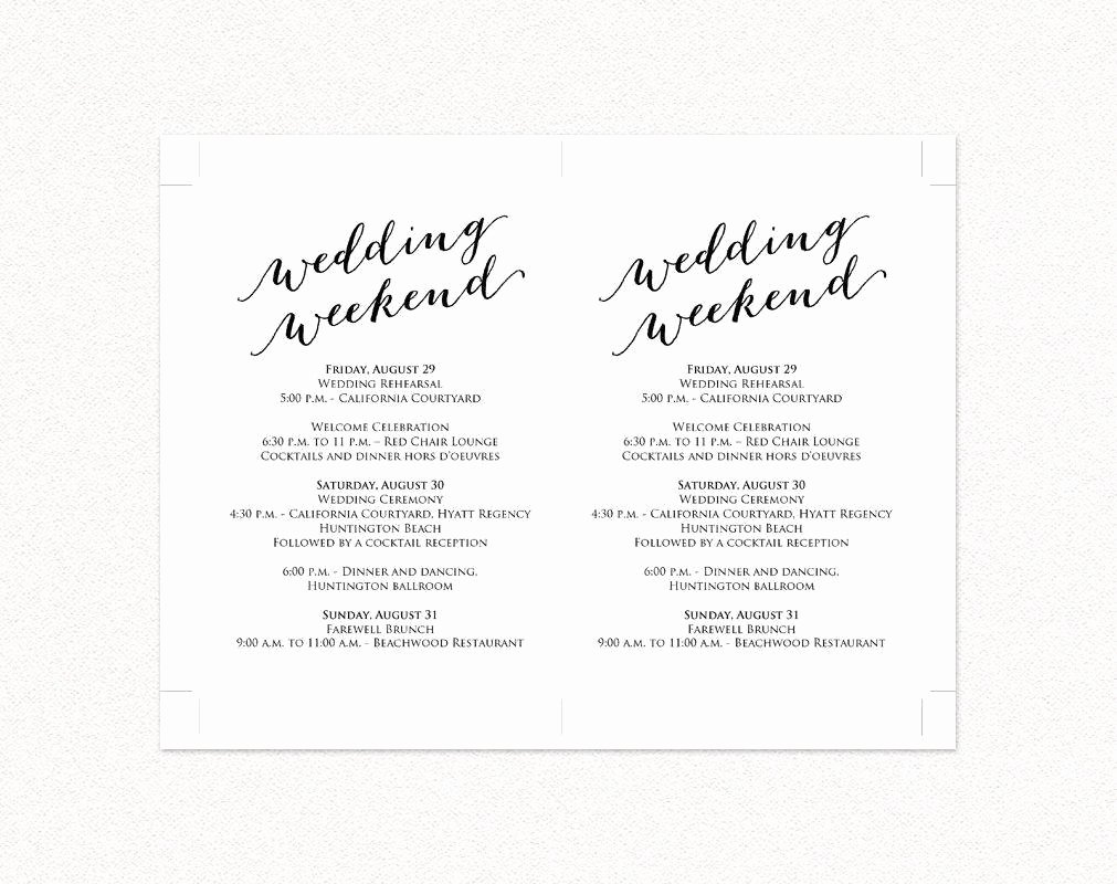 Wedding Weekend Itinerary Template Free Inspirational Wedding Weekend Itinerary Card · Wedding Templates and