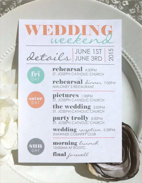 Wedding Weekend Itinerary Template Free Luxury 44 Wedding Itinerary Templates Doc Pdf Psd