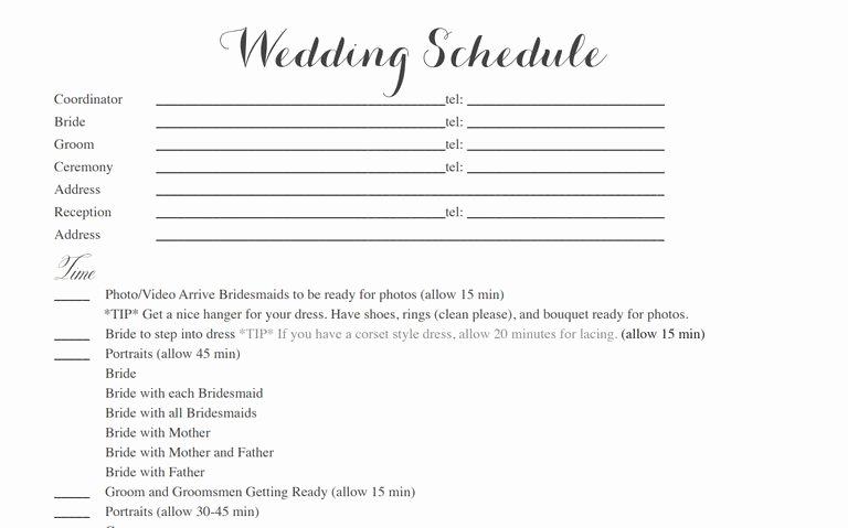 Wedding Weekend Itinerary Template Free Luxury Free Wedding Itinerary Templates and Timelines
