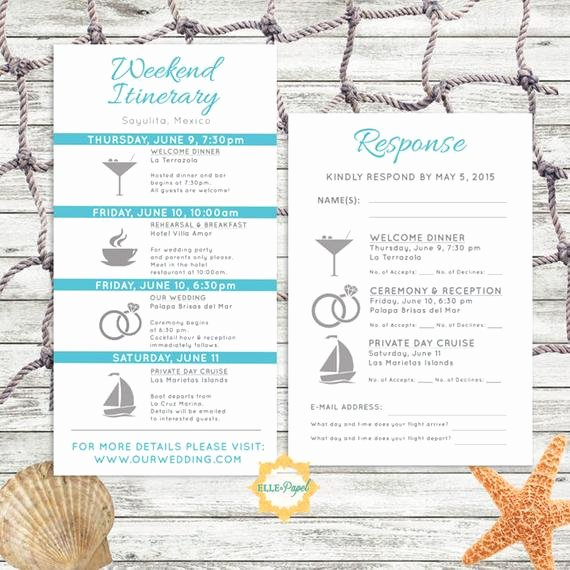 Wedding Weekend Itinerary Template Free Luxury Simple and Modern Wedding Itinerary Card with Rsvp Card