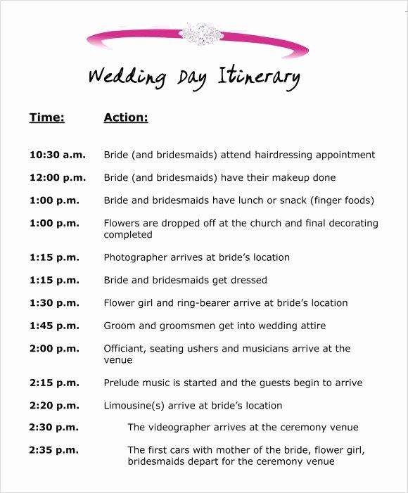 Wedding Weekend Itinerary Template Free Luxury Wedding Itinerary Template 8 Download Free Documents In