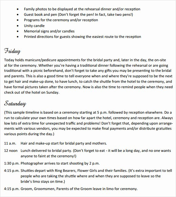 Wedding Weekend Itinerary Template Free New Sample Wedding Weekend Itinerary Template 12 Documents