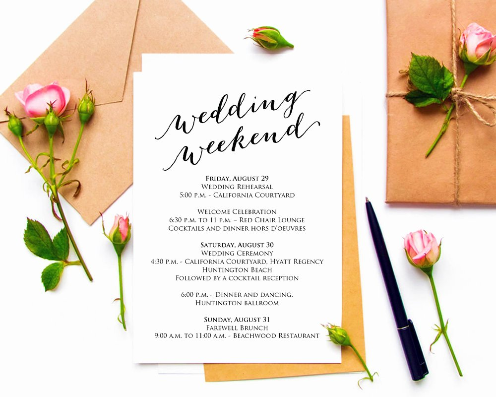 Wedding Weekend Itinerary Template Free New Wedding Weekend Itinerary Details Card Insert Wedding