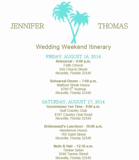 Wedding Weekend Itinerary Template Free Unique Beach theme Wedding Itinerary Template Download On