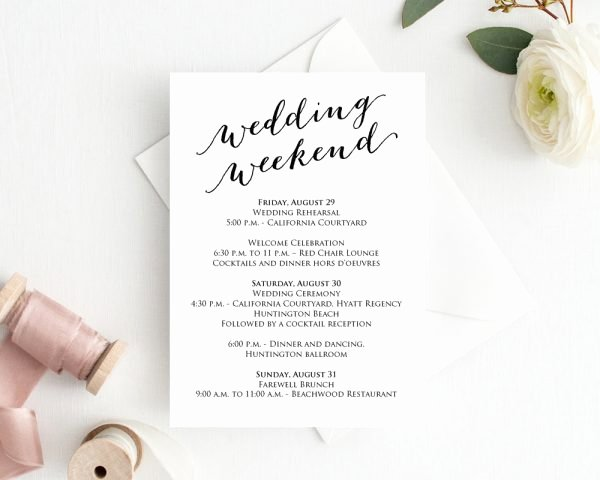 Wedding Weekend Itinerary Template Free Unique Wedding Weekend Itinerary Template Wedding Weekend Timeline