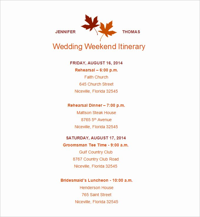Wedding Weekend Itinerary Template Fresh 4 Sample Wedding Weekend Itinerary Templates Doc Pdf