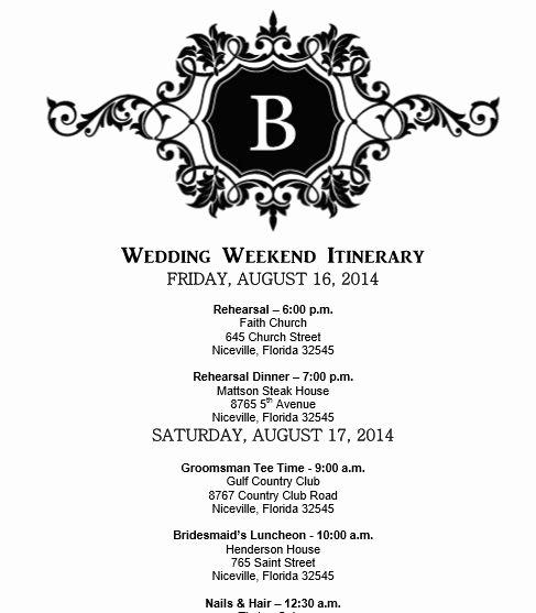 Wedding Weekend Itinerary Template Fresh Wedding Itinerary Wedding Itinerary Template Bridetodo