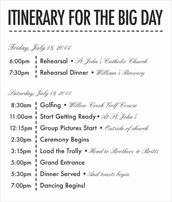 Wedding Weekend Itinerary Template Inspirational 26 Wedding Itinerary Templates – Free Sample Example
