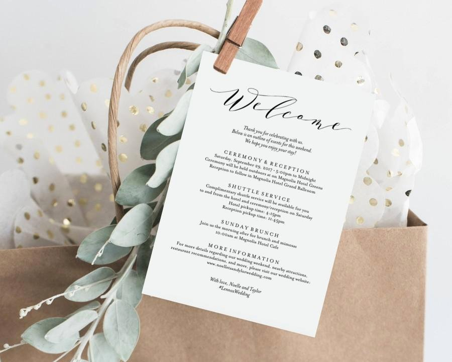 Wedding Weekend Itinerary Template Lovely Editable Template Instant Download soft Calligraphy