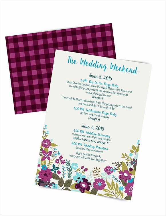 Wedding Weekend Itinerary Template Lovely Sample Wedding Weekend Itinerary Template 12 Documents