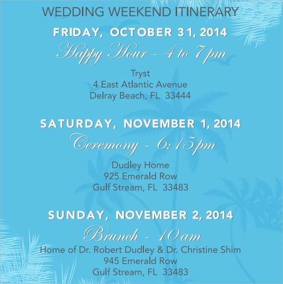 Wedding Weekend Itinerary Template Lovely Wedding Itinerary Template 8 Download Documents In Pdf