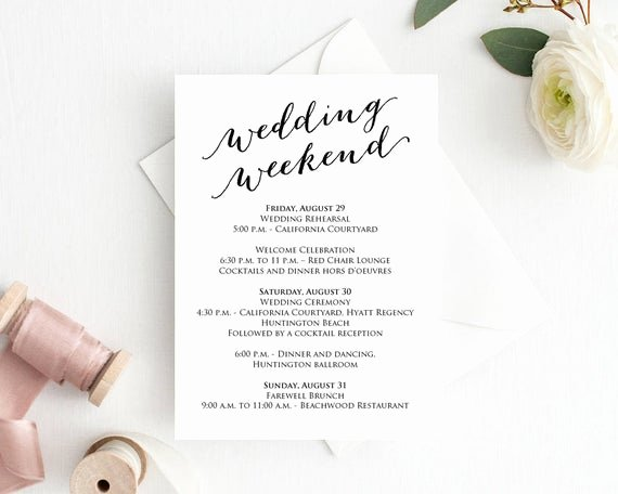 Wedding Weekend Itinerary Template Lovely Wedding Weekend Itinerary Details Card Insert Wedding