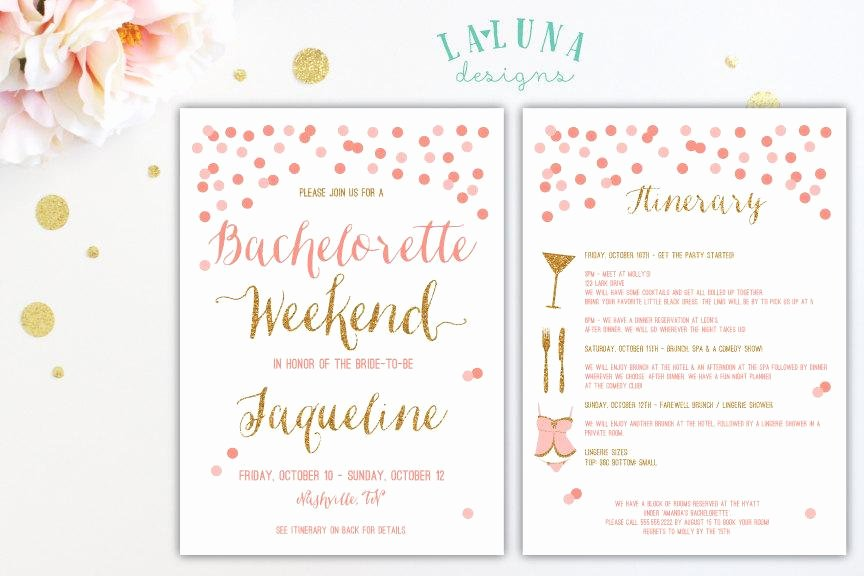 Wedding Weekend Itinerary Template New Bachelorette Party Itinerary Template
