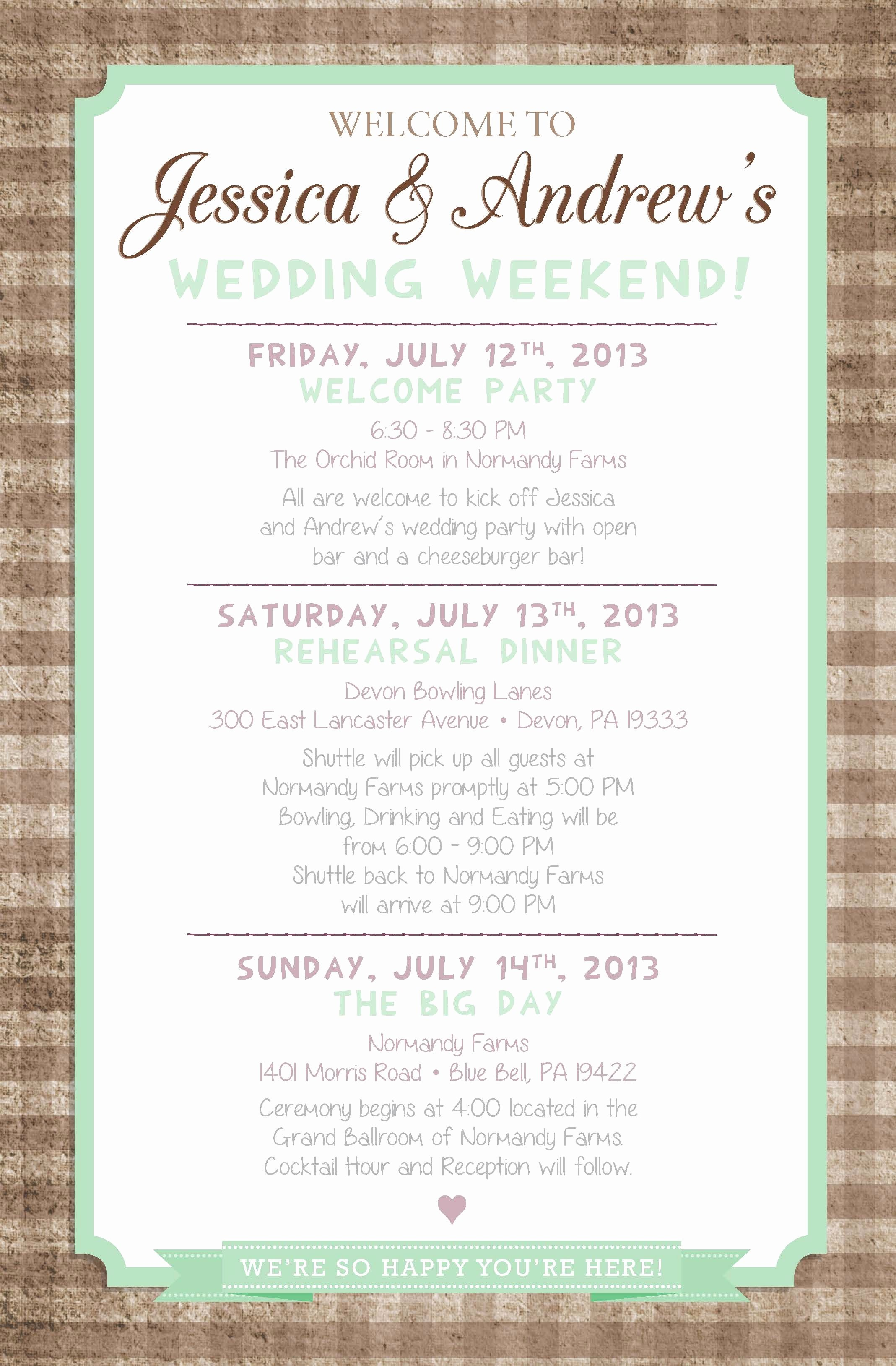 Wedding Weekend Itinerary Template New Country Chic Wedding Weekend Itinerary by Paper & Lace